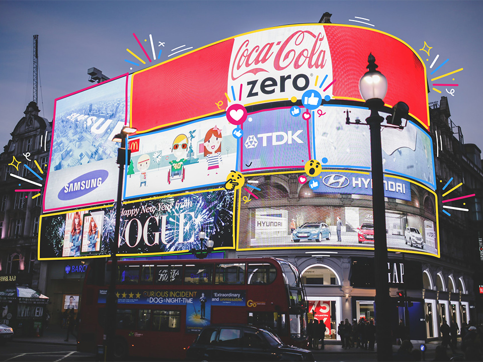 The Piccadilly Circus billboard, with different ads outlined by coloured lines and emojis