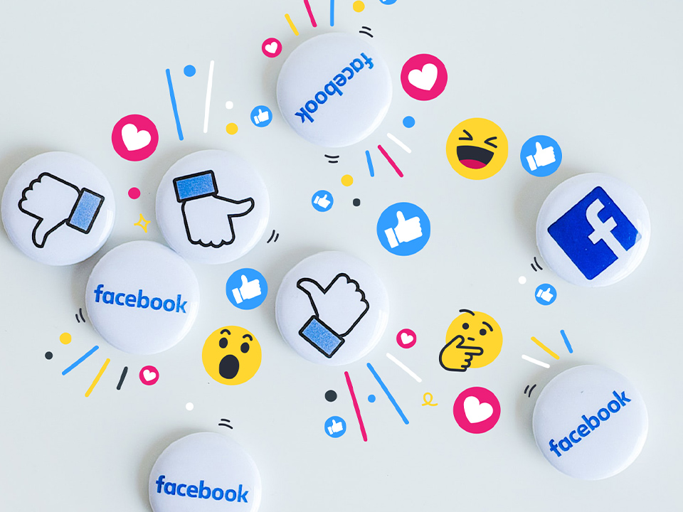 Badges with the Facebook logo on them and the Facebook like symbol