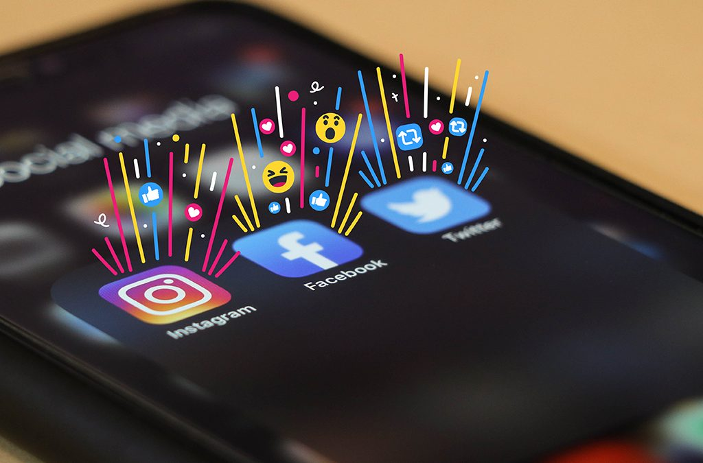 Instagram, Facebook and Twitter on an iPhone screen
