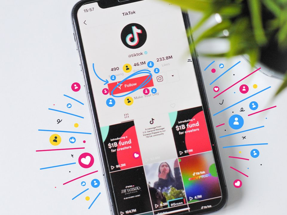 A TikTok profile, with the follow button circled in an elaborate fashion