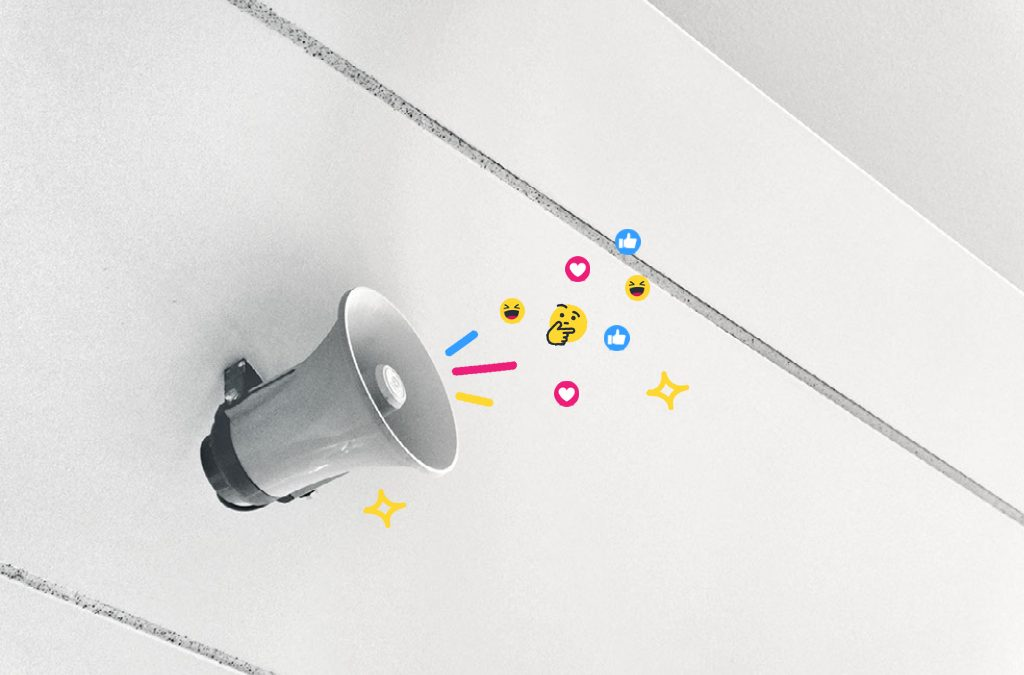A loudspeaker with emojis flooding out of it, representing brand awareness