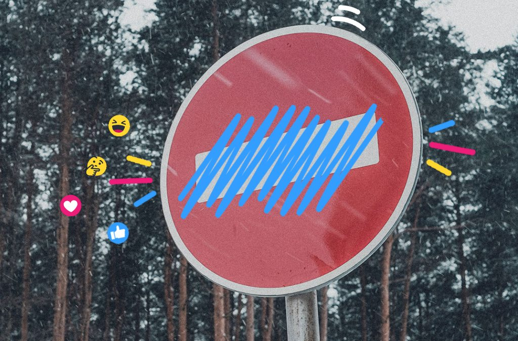 A no entry sign with the no entry white stripe crossed out, representing an ad takedown