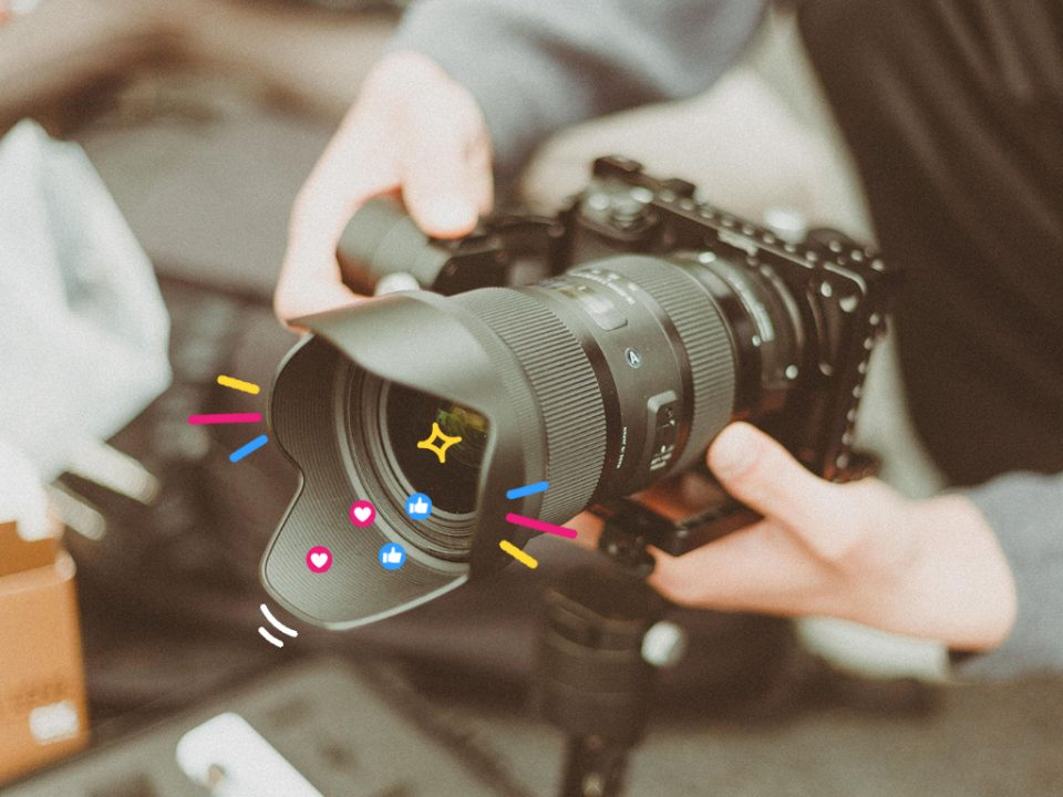 A high-end video camera, being used to produce videos for social media