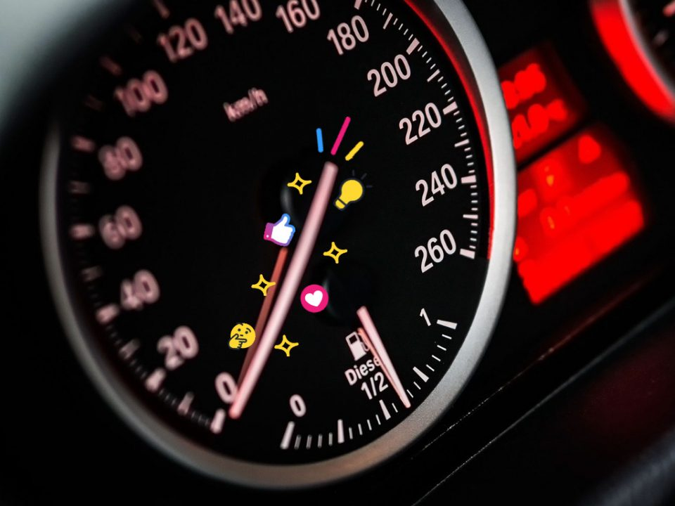 Speedometer representing page speed of a website